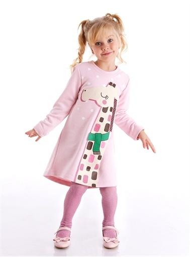 Denokids Cool Zürafa Kız Elbise Pembe